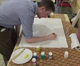Greg Irving (VdGM Research Liaison Person) begins the painting