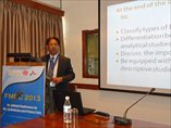 Dr Basharat Ali delivering lecture on Study Design in SAPCRN workshop